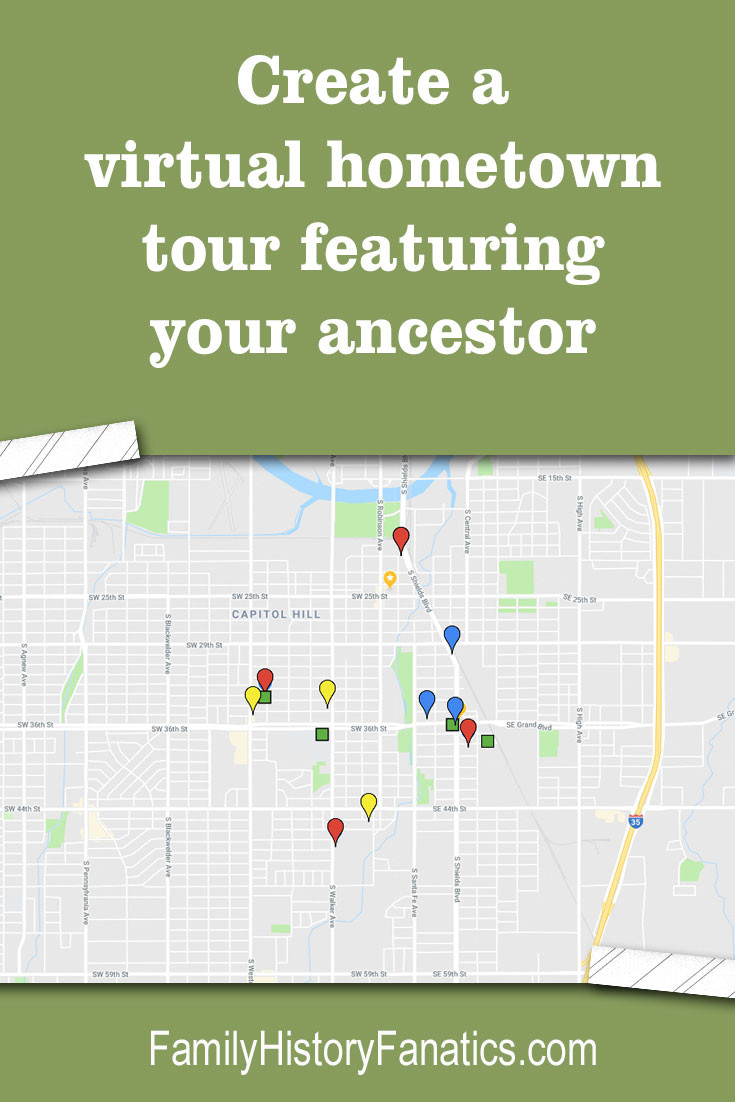 Use this free mapping resource to create full-featured experience to showcase your ancestral hometown using Google My Maps. #genealogy #virtualtour #roadtrip