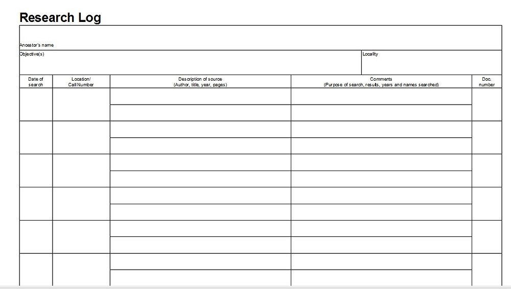 A sample genealogy research log.