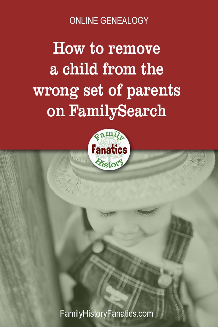 black and white photo of child with title How to delete children from wrong parents on FamilySearch