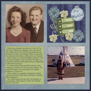 Mother Themed Pages in Heritage Scrapbooks