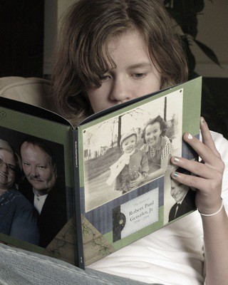 Child holding family history