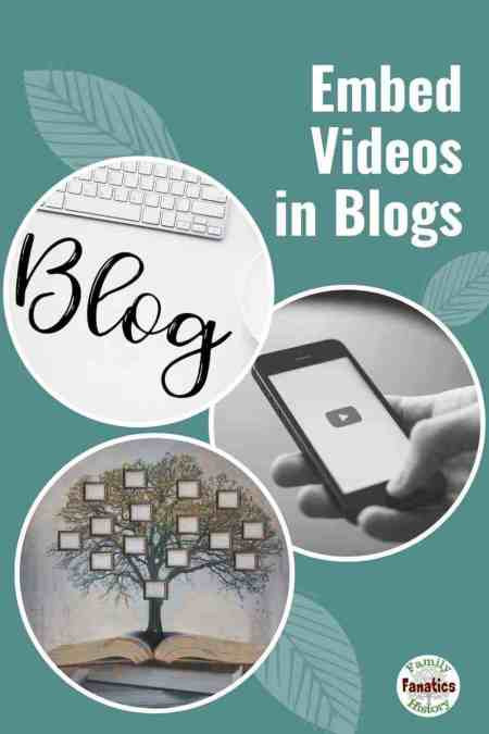 Circles with a family tree, the word blog, and a mobile phone with YouTube and the title Embed videos in Blog