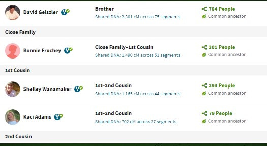 Screen shot of AncestryDNA Match List with Linking Feature