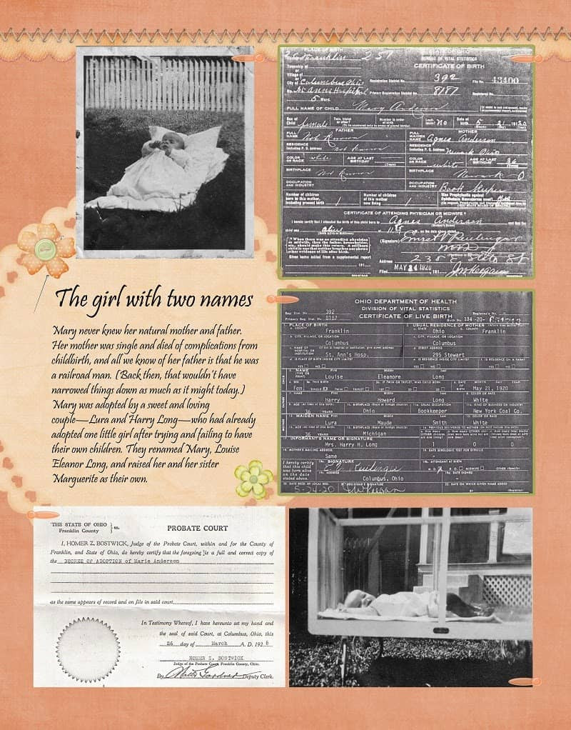 Peach and Green Heritage Scrapbook Layout for Baby