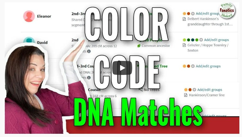 Ancestry Color Code DNA Matches screen shop with YouTube playbutton