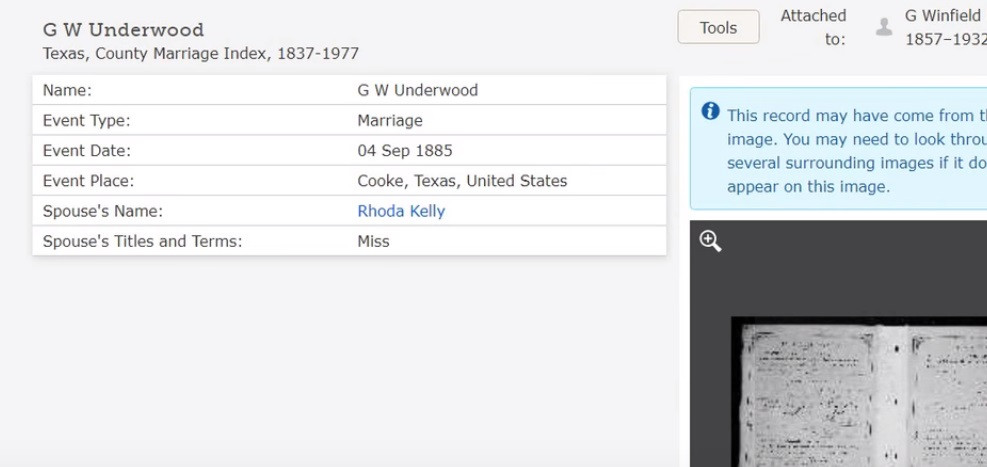 Index to marriage record on FamilySearch for Winfield Underwood