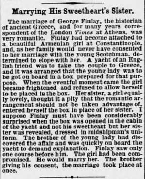 newspaper clipping for George Finlay's marriage