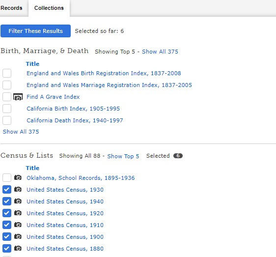 Screen shot of filtering FamilySearch search results by collection.