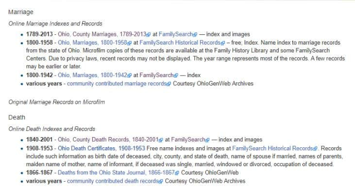Links to Huron County, Ohio Marriage records from FamilySearch Wiki