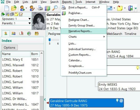 Steps to creating a Narrative Report in RootsMagic - Select Wizard