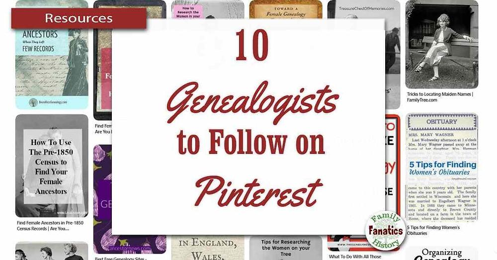Screenshot of genealogy pinterest pins with blog title