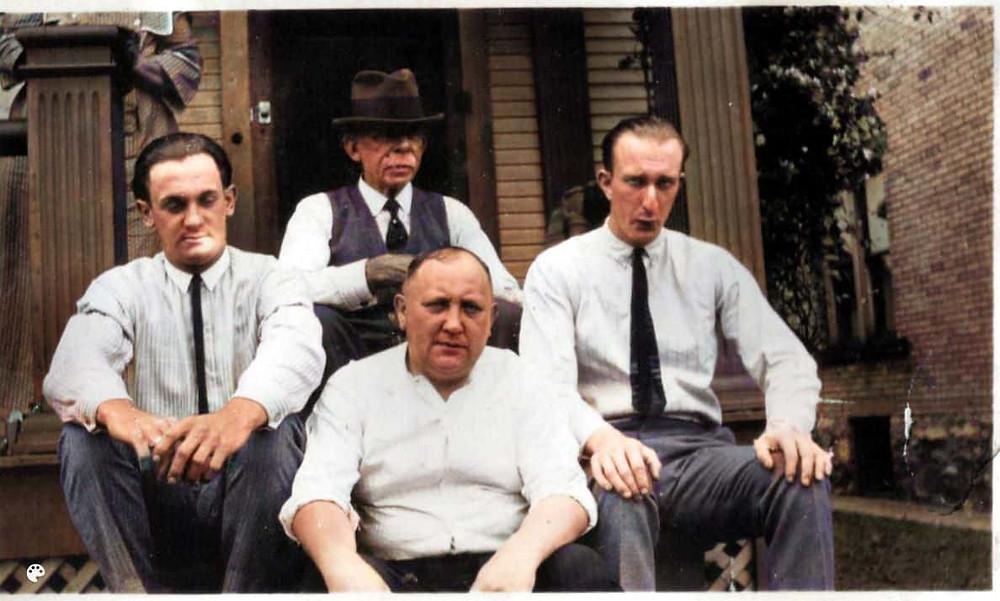 Colorized photo of Earl Wiggins, Sam Barton, Lawrence Geren, George Geiszler