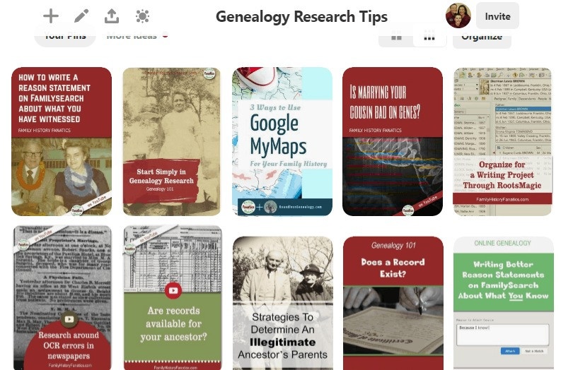 Pinterest screen capture of My Favorite Genealogy Research Tips
