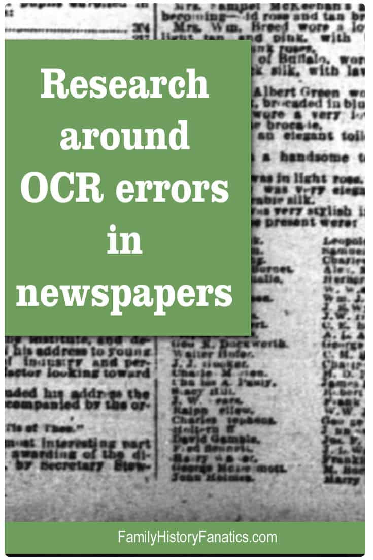 Screenshot of newspaper paper with a text box overlay with Research around OCR errors in newspapers