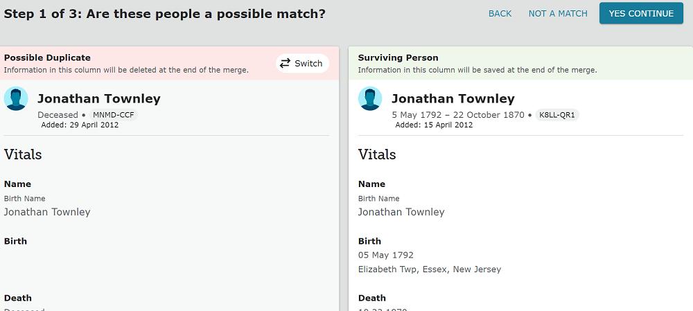 New FamilySearch Merge Duplicate Screen