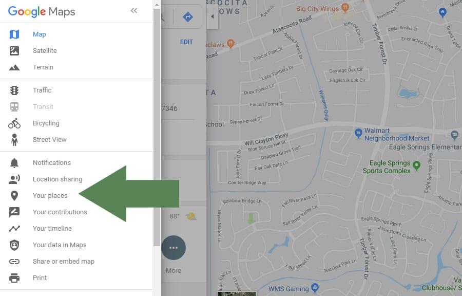 Access Google My Maps in the Google Maps Menu #familyhistory #roadtrip