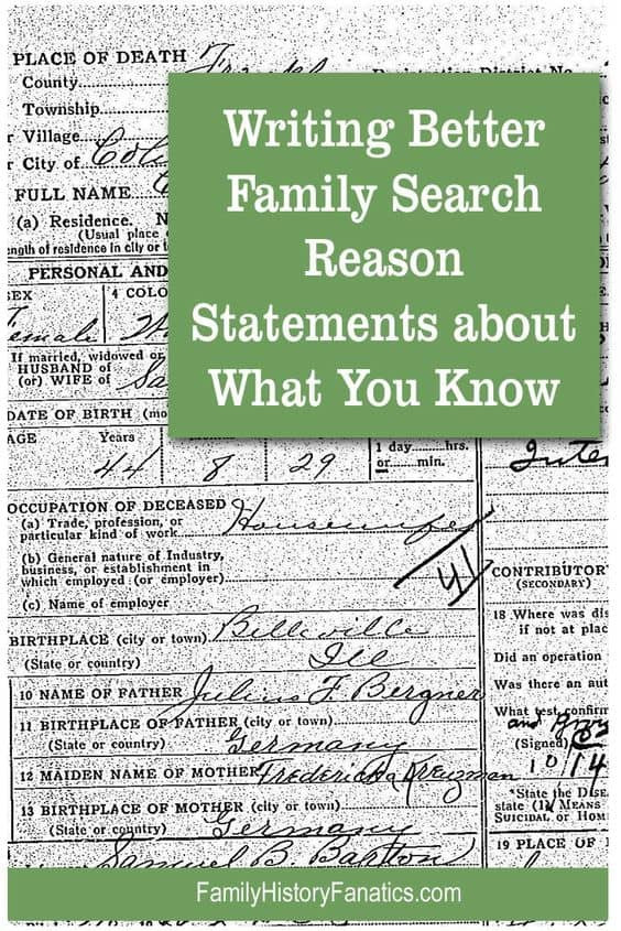 Death record with the title writing better FamilySearch reason statements about what you know