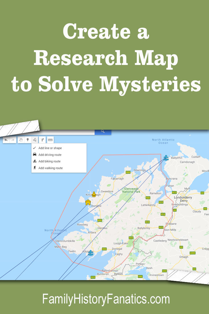 Discover how this Google MyMaps, a free resource, can help you trace your ancestors as they moved around their country or the world. #genealogy #maps #migration