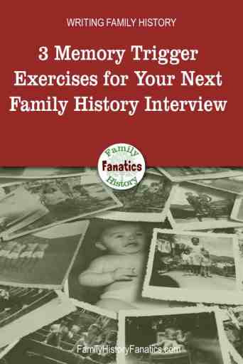pile of family photos with title Use These 3 Memory Triggers When Interviewing Your Family Members to Capture Better Family Stories