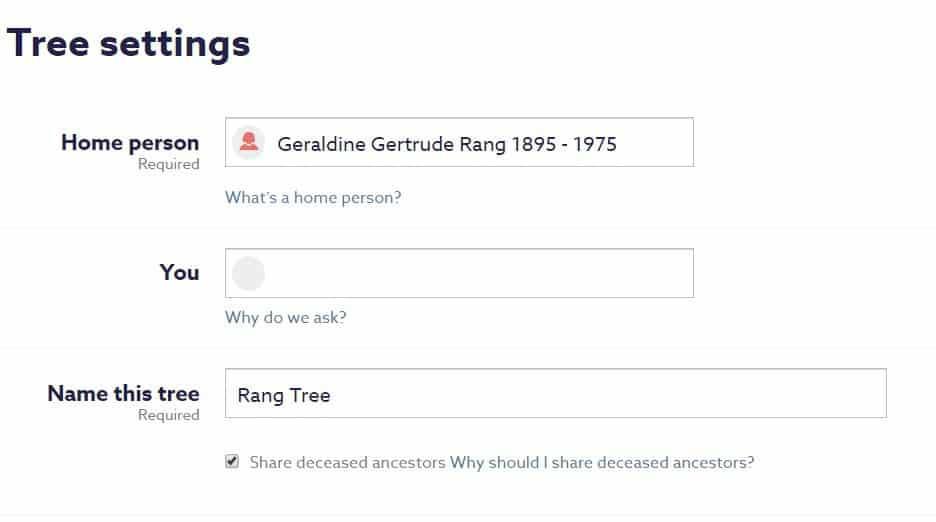 "Screen shot of FindMyPast Tree Settings. Check mark beside ""Share deceased ancestors."""