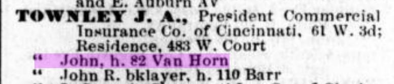 1890 Cincinnati City Directory focused in on John Townleys