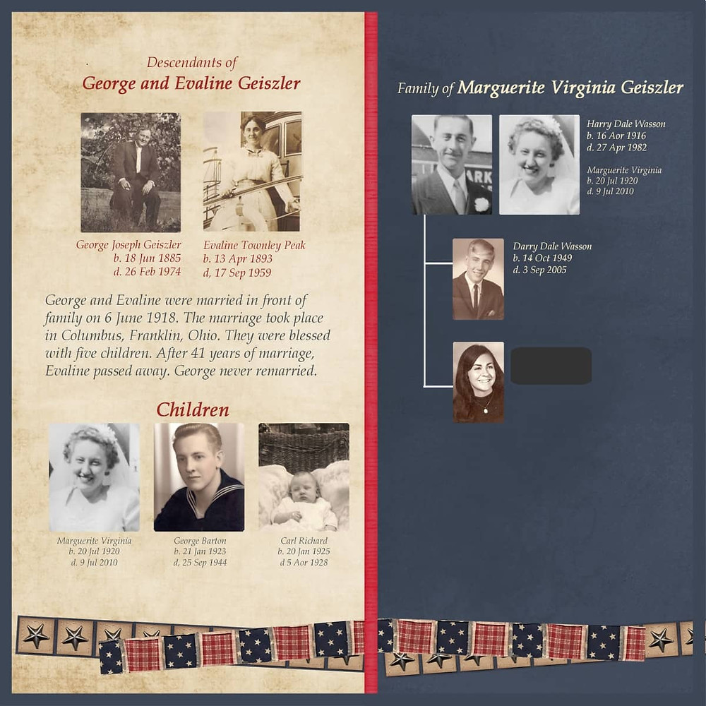 Descendants family  tree Heritage Scrapbook Layout idea