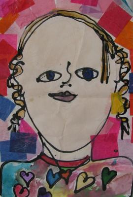 cropped photograph of child's artwork