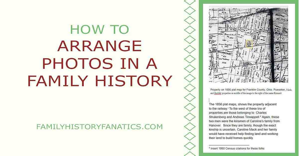 Family History Book Page with title how to arrange photos in a family history