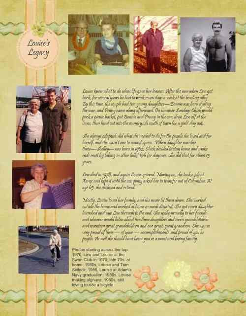 Peach and green heritage scrapbook layouts