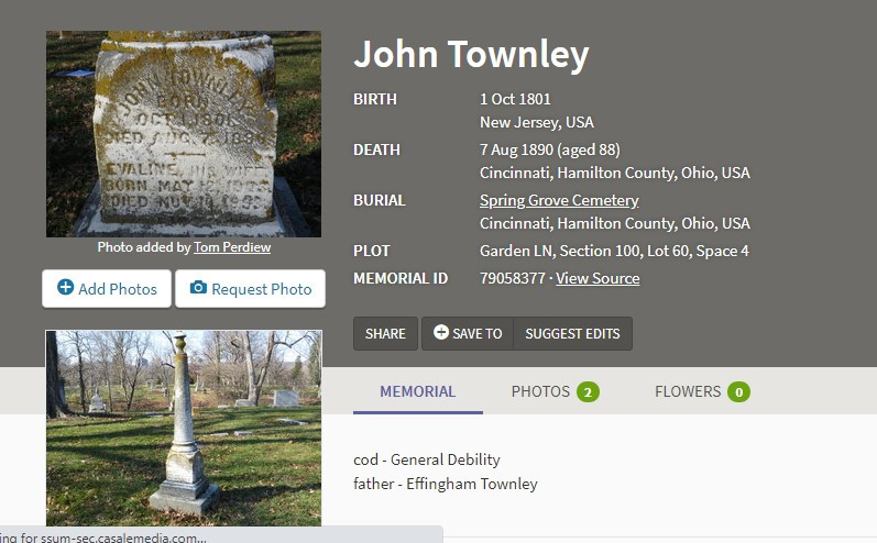 Find a Grave memorial page for John Townley