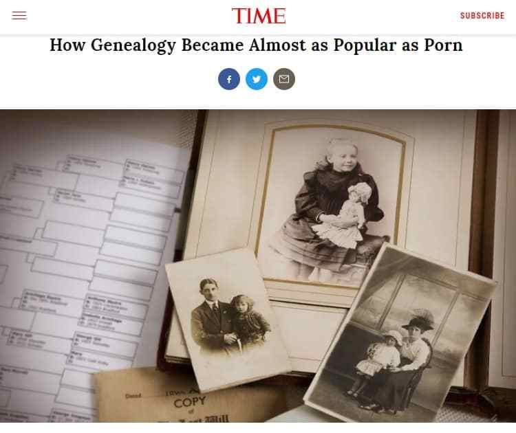 TIME suggested genealogy is nearly as popular a porn.