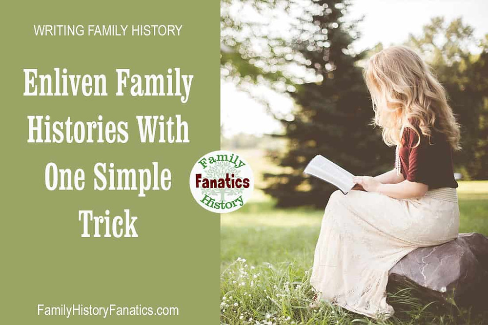 Woman writing story with title enliven family histories with one simple trick