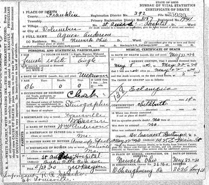Death Certificate for Agnes Anderson - Second Page