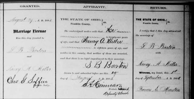 Marriage Record of Samuel Barton