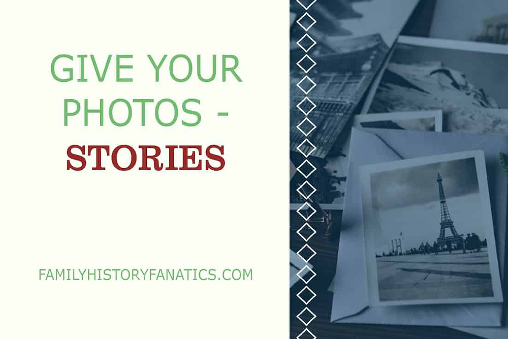 Stack of travel photos with title Give Photos Their Stories