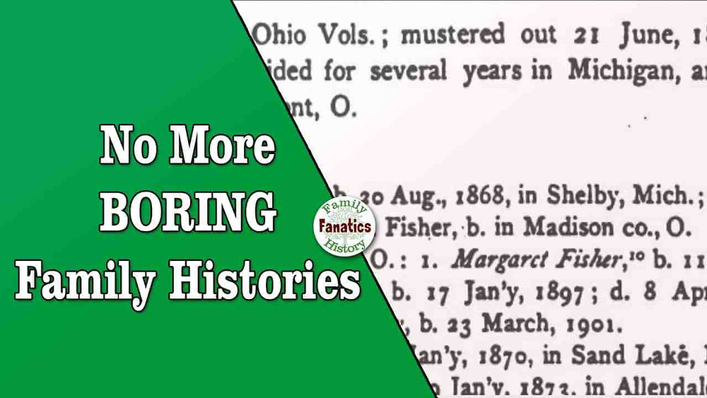 Published genealogy with the prompt to avoid writing boring family histories