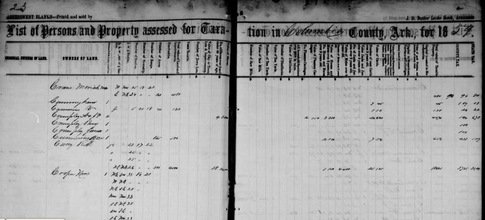 Arkansas tax records, 1821-1884