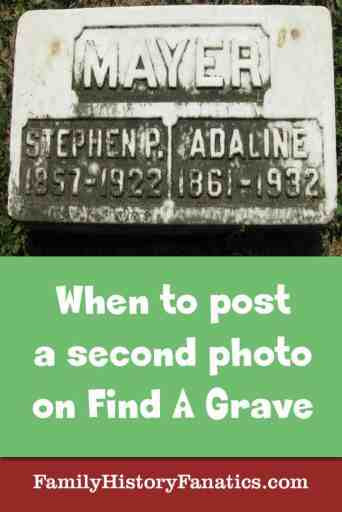 gravestone with caption when to post a second photo on find a grave