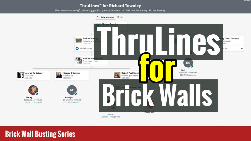 Ancestry ThruLines Screen captures with title ThruLines for Brick Walls