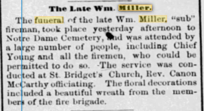 Wm Miller Funeral Notice from Ottawa Canada