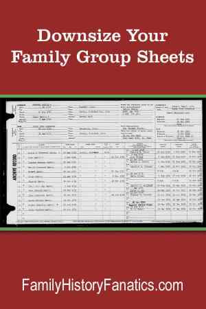 Discover why you can get rid of your family group sheet without loosing your family history. #decluttering #familytree #downsizing