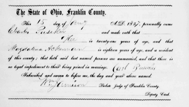 Charles Puesecker Marriage Record in 1857