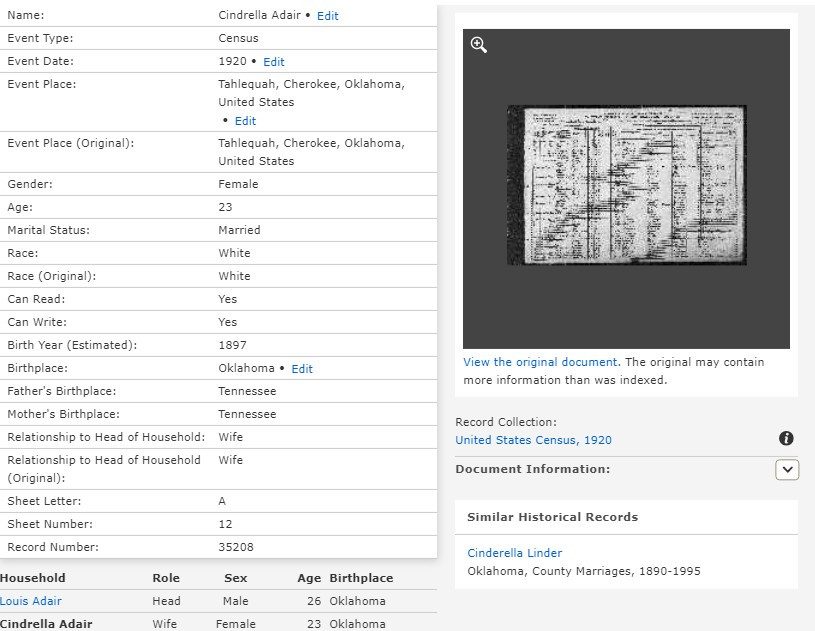 Screen shot of index to census record on FamilySearch