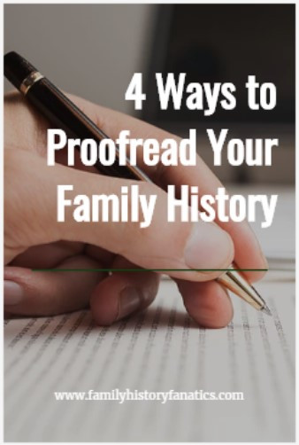 Hand editing paper with title 4 ways to proofread your family history