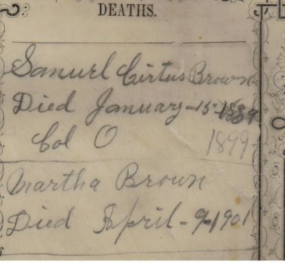 Emma Townsend Brown Bible, recording the deaths of her in-laws Page 2