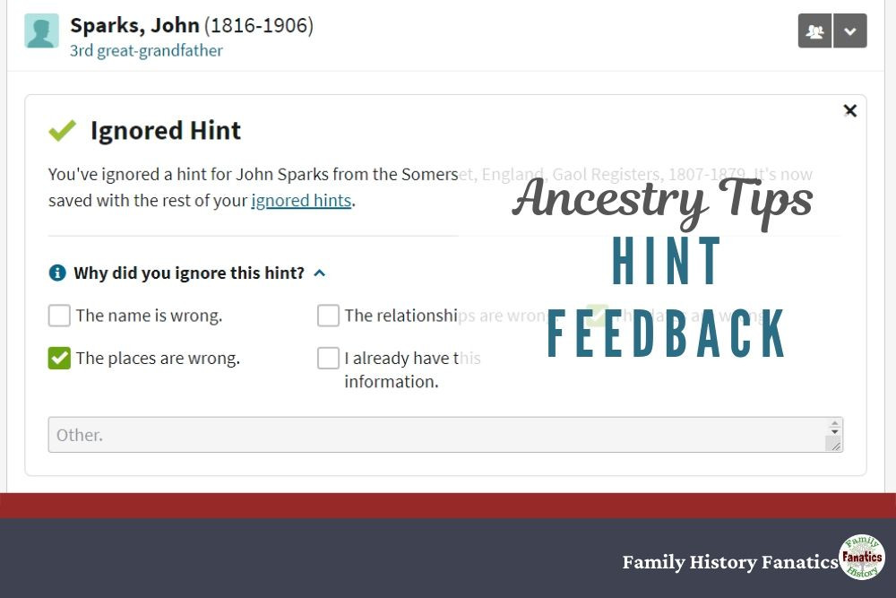 Ancestry Tip: Hint Feedback Form