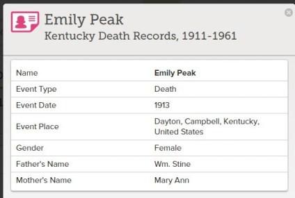 Index of Emily Peak Kentucky Death Records.