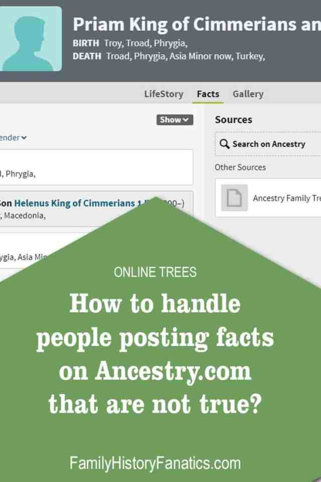 Follow these tips for handling the false information that appears on Ancestry Member trees. #ancestors #genealogy #research