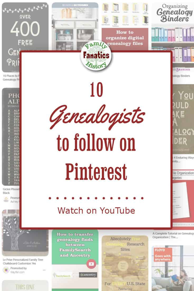 Find genealogists actively using Pinterest