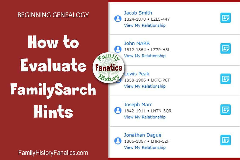 FamilySearch Hints with title how to evaluate them